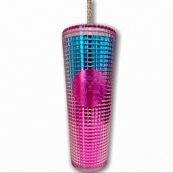 Starbucks summer 2021 pink ombré grid tumbler NWT